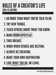 Rules of Creators life